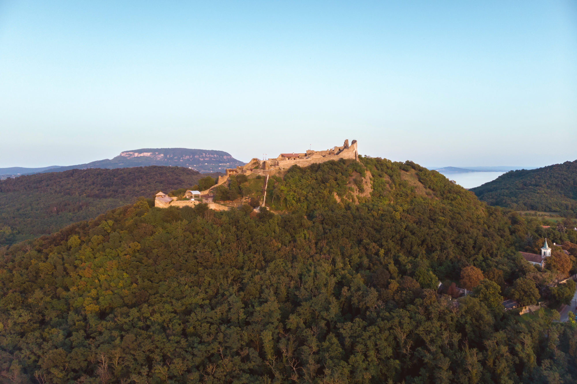 Drone picture from a beautiful ancient castle Szigliget in Hungary